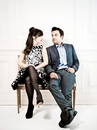 dress new girl friends tv show dress like new girl black and white dress a line dress tights high heel pumps black pumps pumps menswear mens suit mens shoes zooey deschanel jake johnson