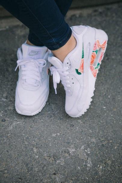 shoes, white floral air max, socks
