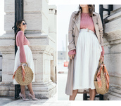 seams for a desire,blogger,skirt,shoes,bag,sunglasses,raffia bag,round bag,midi skirt,trench coat,spring outfits,high heel pumps