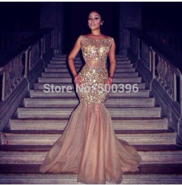 Aliexpress.com : buy glamorous mermaid evening dress with rhinestones crystals floor length prom dress 2015 vestidos formal gowns from reliable dresses vogue suppliers on su zhou wedding &events co,ltd