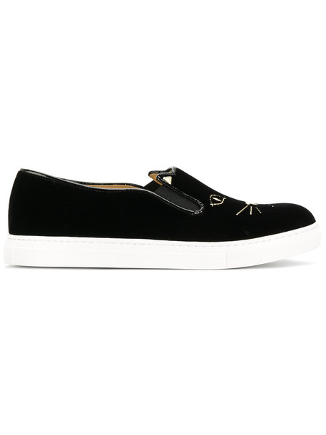 charlotte olympia cool women cats sneakers leather black velvet shoes
