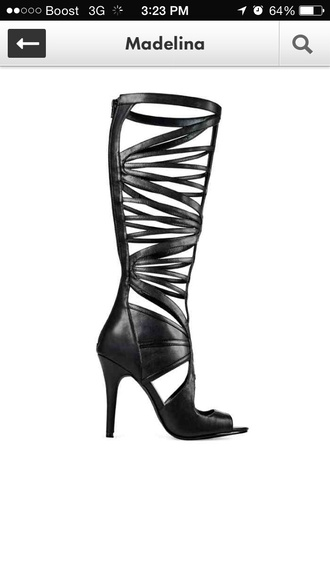 shoes paulinarubio peep toe black high heels zip back