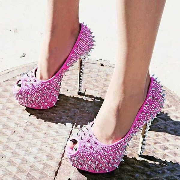 pink rhinestone spike studded platform pump heels