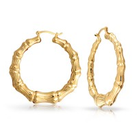 Bling Jewelry Bamboo 14K Gold filled Hoop Earrings 1.75in