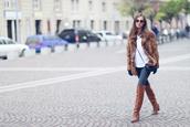 venka vision,blogger,sweater,brown leather boots,faux fur jacket,coat,jeans,shoes,bag