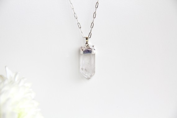 Brazilian crystal quartz silver necklace by anandasaba on etsy