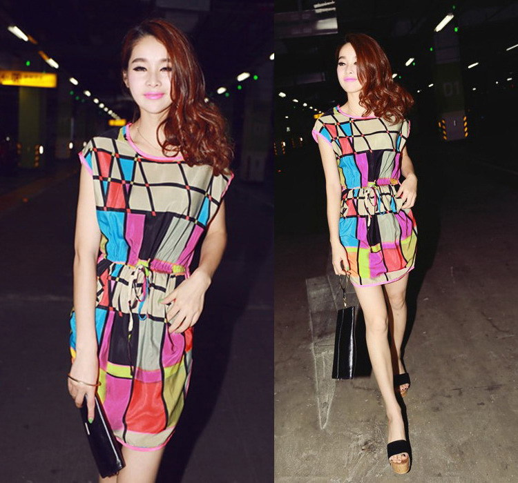 2014 New Summer Women Casual Color Plaid Print Dresses Short Batwing Sleeve Chiffon Dress, M, L, XL-in Dresses from Apparel & Accessories on Aliexpress.com