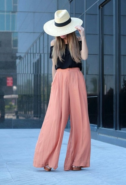 pants high waisted pink wide leg peach trouser high waist wide leg peach colorful wide-leg pants off the shoulder hat