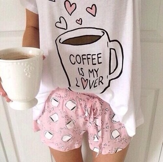 pajamas mug galentines day coffee shorts pajama pants pajama shirt pink blouse pajama shorts girly tumblr outfit tumblr shorts fashion cute outfits white style shirt cute pajamas pink pajamas coffee pajamas love kawaii pink shorts pale pastel weheartit tumblr top t-shirt lover heart cute pjamas coffee is my lover multiple cups of coffee shirty