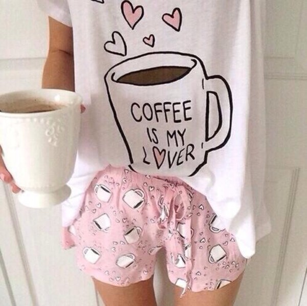 shirt coffee pajamas mug galentines day shorts pink coffee white pajamas pajamas girly heart coffee t-shirt heart top love kawaii pale pastel multiple cups of coffee shirty socks shoes