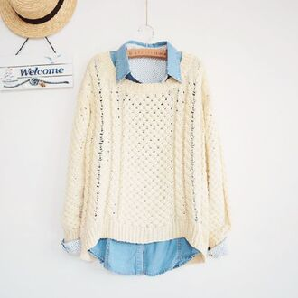 white sweater jeans shirt comfysweater korean fashion hipster winter sweater