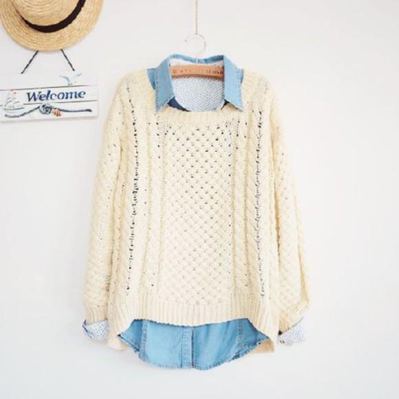 hipster white sweater denim shirt comfysweater korean fashion winter sweater