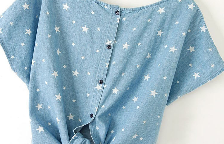 Light Blue Batwing Short Sleeve Stars Print Denim T-Shirt - Sheinside.com