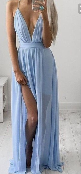 5e770c42d624 dress baby blue flowy blue dress blue prom dress prom dress plunge v neck  deep v