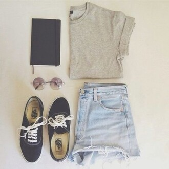 shorts jeans vans sunglasses blue jeans grey t-shirt grey
