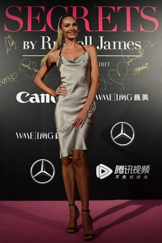 dress candice swanepoel model midi dress camisole victoria's secret victoria's secret model