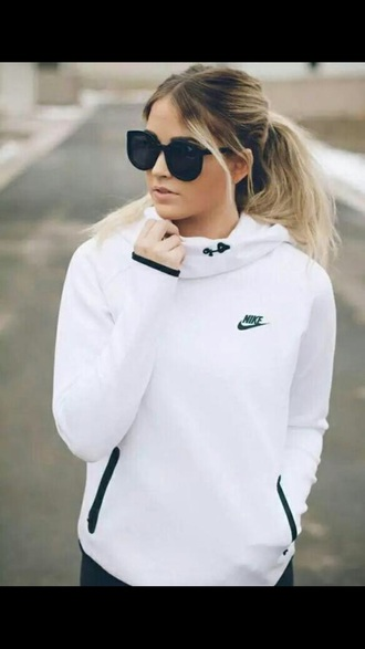 sweater white girl hair sunglasses nike hoodie nike hoodie tumblr gym fitness sportswear nike sweater nike white shirt white sweater white nike hoodie fitness shirt