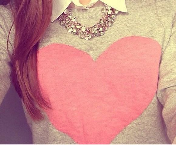 jewels silver jewelry jeweled necklace, heart sweater,