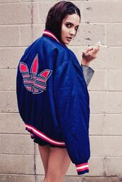 jacket,clothes,adidas,blue,red,satin,bomber jacket,boyish,satin bomber,adidas originals