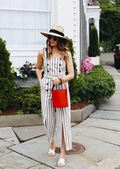 jumpsuit,stripes,sunglasses,white slides,red bag,hat,slide shoes,michael kors slides