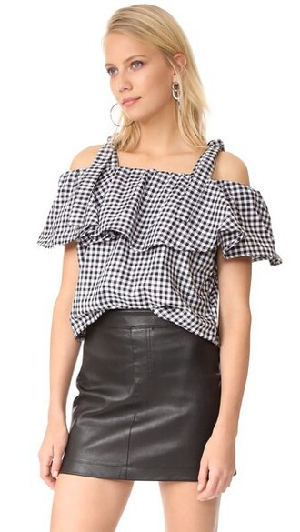 top ruffle white black gingham