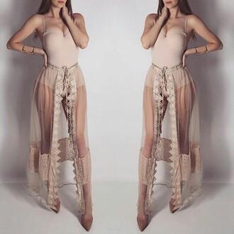 skirt nude tan long lace see through dress see through maxi skirt