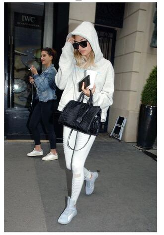 leggings white sunglasses hoodie sneakers hailey baldwin purse sweatshirt