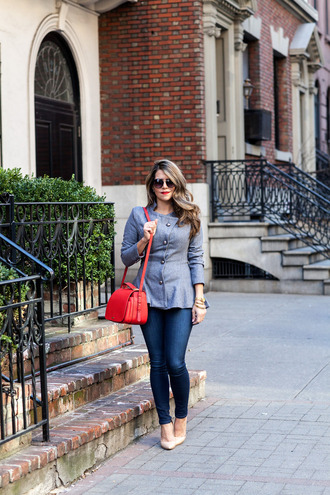 the corporate catwalk blogger sunglasses red bag grey jacket