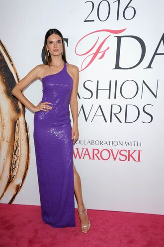 dress purple slit dress gown prom dress alessandra ambrosio sandals sandal heels model red carpet dress one shoulder