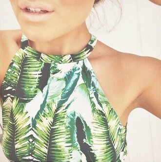 top tropical hawaiian hawaiian print tropical print print leaf print leaves rainforest forest green nature indie marijuana crop tops cropped crop forest jungle summer spring paint garden garden floral palm leaf palm tree print weed