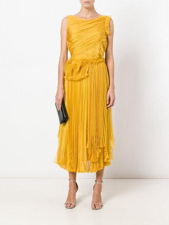 dress yellow ruffle