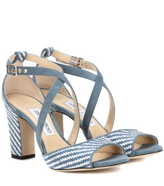 Jimmy Choo Carrie 85 raffia sandals in blue