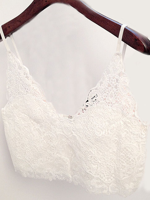 Sweet pure white lace crochet v neck strap bustier top with back zip