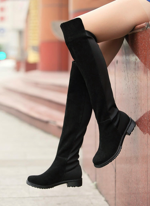 a19ffc21b44d Black Fashion Women s Shoes Over the knee Faux Suede High Flat ...