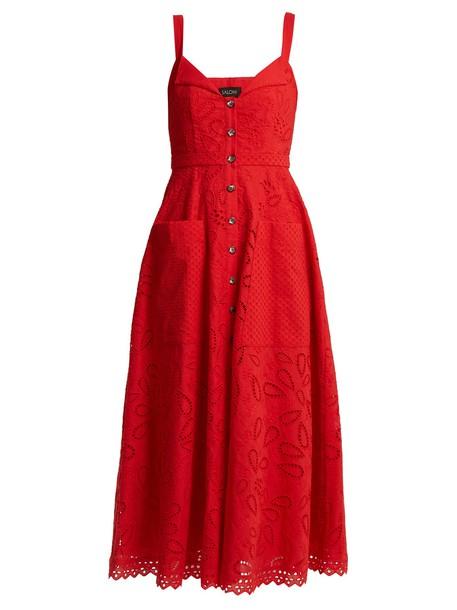 Saloni dress midi dress midi cotton red