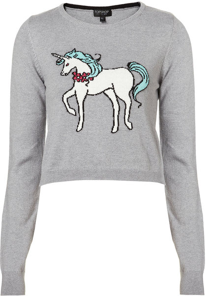 998c9649f7a3 Topshop Knitted Unicorn Crop Jumper in Gray (grey marl)