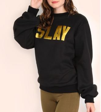 sweater black crewneck slay nastygal