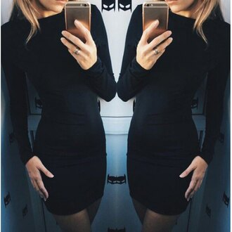 dress black rose wholesale bodycon dress lookbook instagram all black everything selfie fashion trendy iphone long sleeves cute style fall outfits sexy round neck long sleeve solid color slimming women's dress bodycon