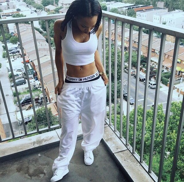 joggers crop[ top tommy hilfiger underwear urban crop tops pants pajamas tommy hilfiger tommy hilfiger white joggers white crop tops white baddies black girls killin it ootd outfit top adidas white shoes shoes crop tops