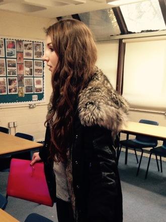 coat fur fur hood parka down jacket black coat fur coat