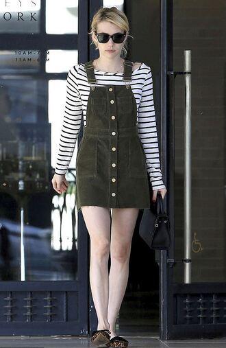 dress stripes striped top emma roberts mini dress skirt streetstyle fall outfits top
