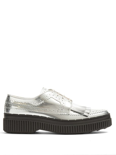 TOD'S leather silver shoes