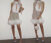 dress,white dress,backless dress,midi dress,fur,sequin dress,shiny dress,halter dress,sleeveless dress