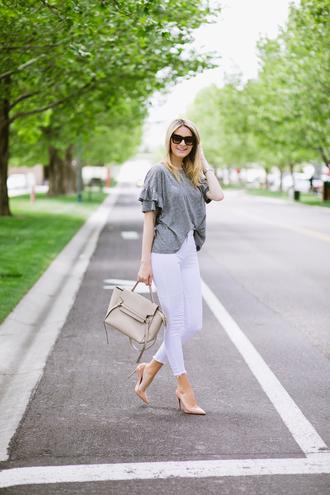 ivory lane blogger top jeans shoes bag jewels make-up