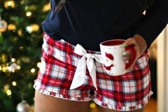 shorts pajamas red white holiday season tumblr christmas pajamas christmas pyjama shorts plad bow cute girly holidays girl women stripes plaid