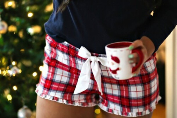 shorts pajamas red white holiday season tumblr christmas pajamas christmas pyjama shorts plad bow cute girly holidays girl women stripes plaid