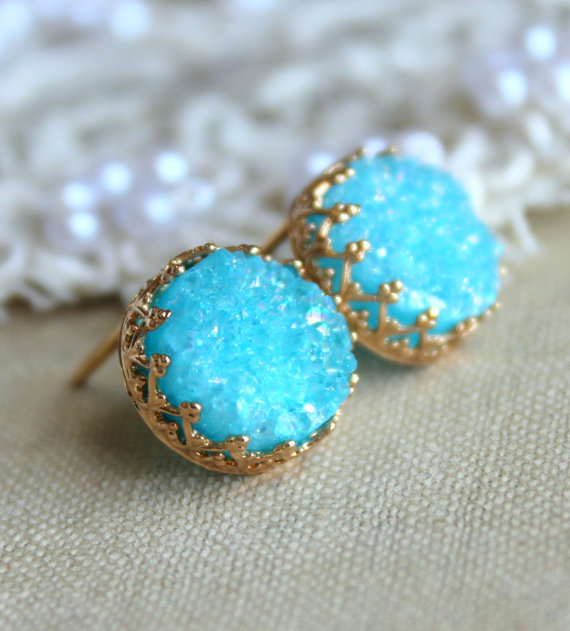 Druzy turquoise earrings Blue Aqua studs earrings Agate by iloniti