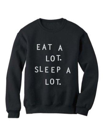 Amazon.com: Green Turtle - EAT A LOT SLEEP A LOT Sweatshirt: Clothing