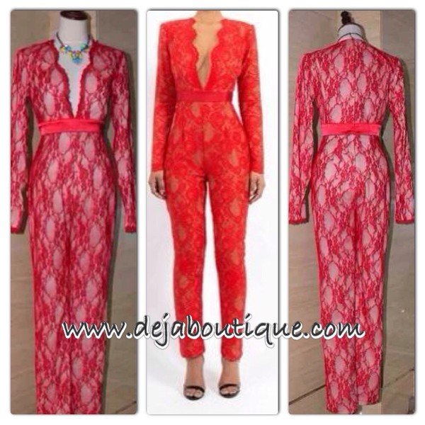 pants red lace jumpsuit