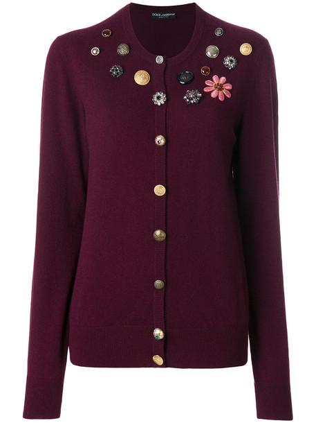 Dolce & Gabbana cardigan cardigan women embellished silk purple pink sweater